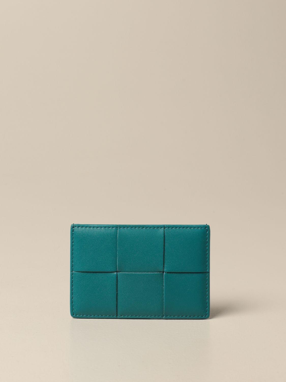 Wallet Bottega Veneta: Bottega Veneta credit card holder in woven leather teal 1