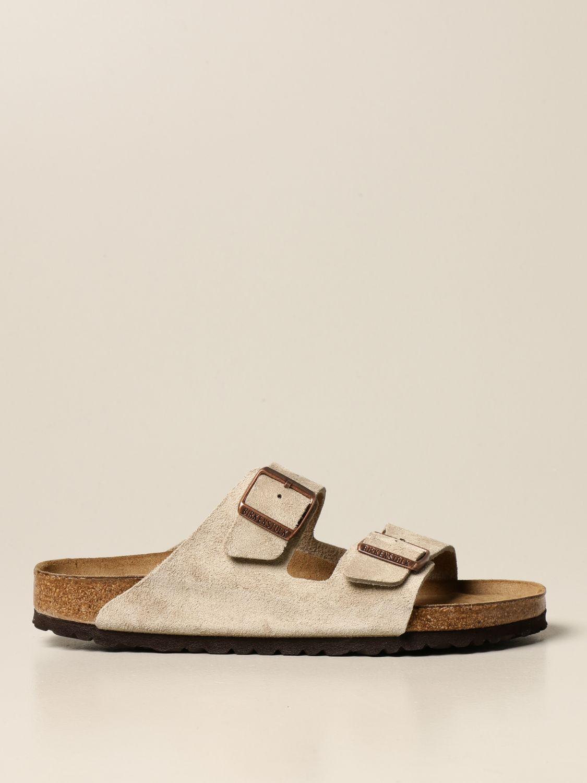 Sandals Birkenstock: Arizona Birkenstock slipper sandal in suede beige 1