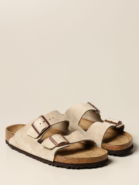 Sandals Birkenstock: Arizona Birkenstock slipper sandal in suede beige 2