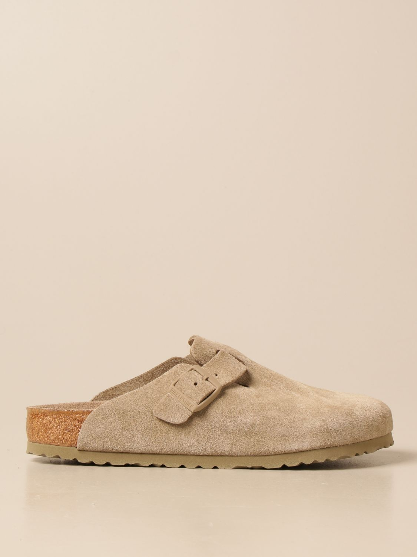 Sandals Birkenstock: Boston Birkenstock sabot sandals in suede kaki 1