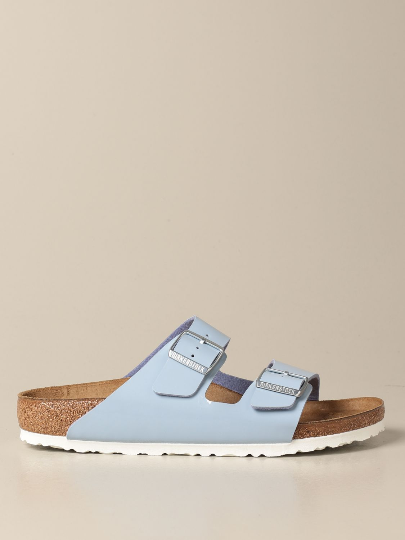Sandals Birkenstock: Arizona Birkenstock slipper sandals in patent leather gnawed blue 1