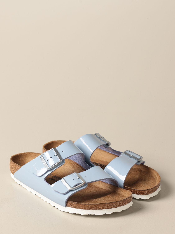 Sandals Birkenstock: Arizona Birkenstock slipper sandals in patent leather gnawed blue 2