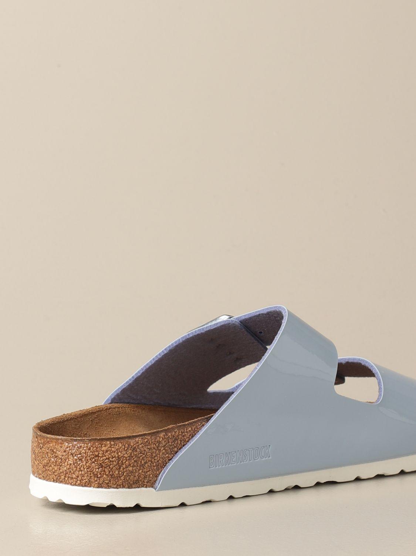 Sandals Birkenstock: Arizona Birkenstock slipper sandals in patent leather gnawed blue 3