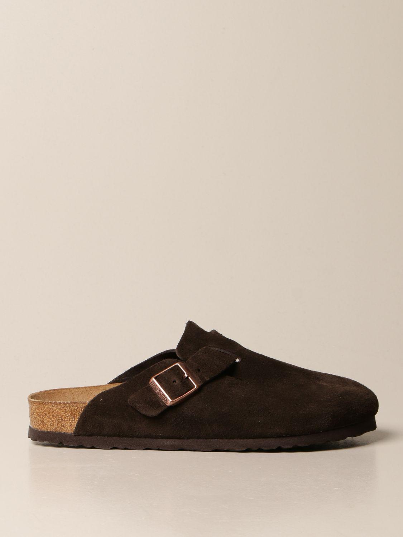 Sandals Birkenstock: Boston Birkenstock sabot sandals in suede cocoa 1