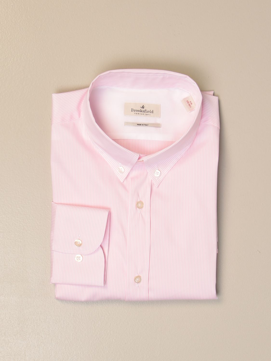 Shirt Brooksfield: Brooksfield shirt in stretch poplin with button down collar pink 1