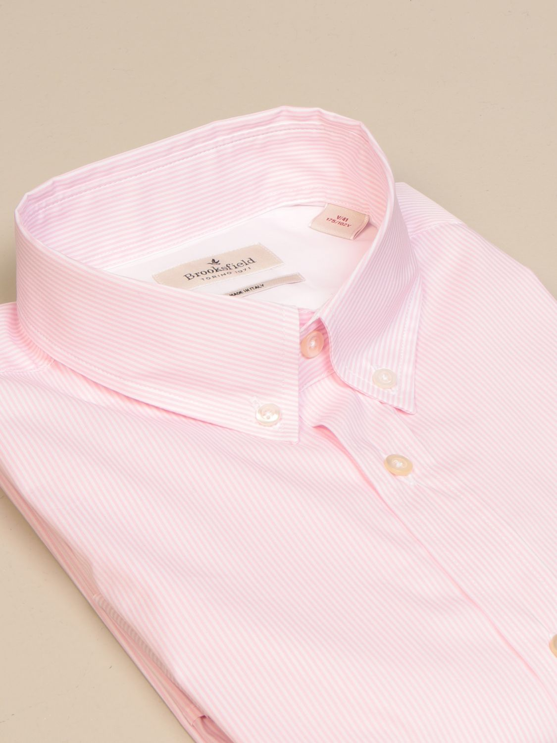 Shirt Brooksfield: Brooksfield shirt in stretch poplin with button down collar pink 2