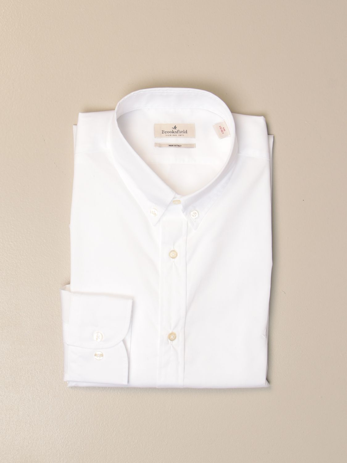 Shirt Brooksfield: Brooksfield shirt in stretch poplin with button down collar white 1