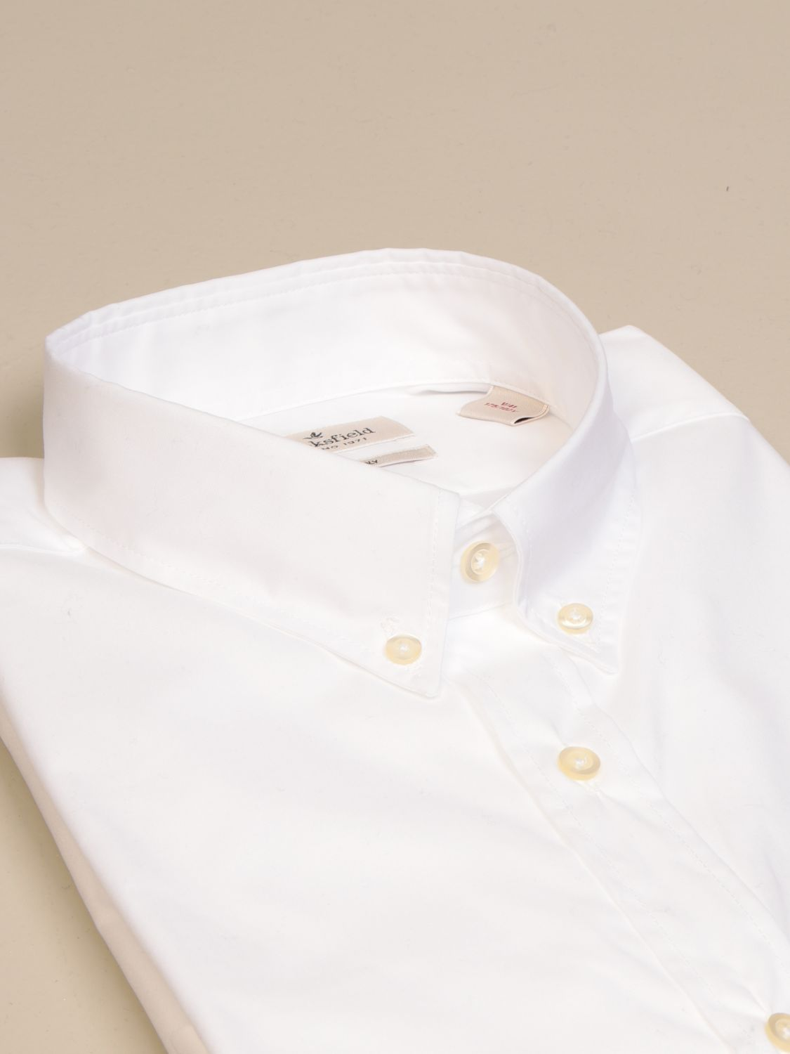 Shirt Brooksfield: Brooksfield shirt in stretch poplin with button down collar white 2