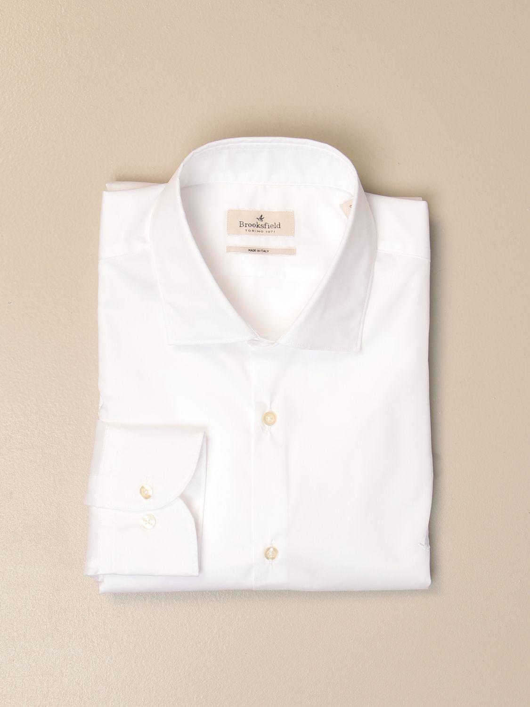 Shirt Brooksfield: Brooksfield shirt in stretch poplin white 1