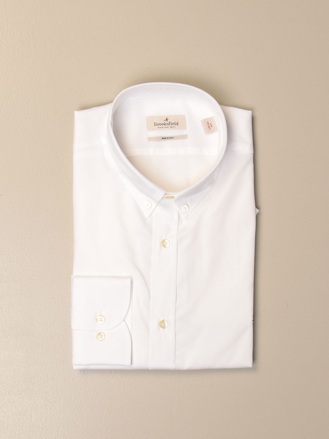 Shirt Brooksfield: Brooksfield Oxford shirt in poplin with button down collar white 1