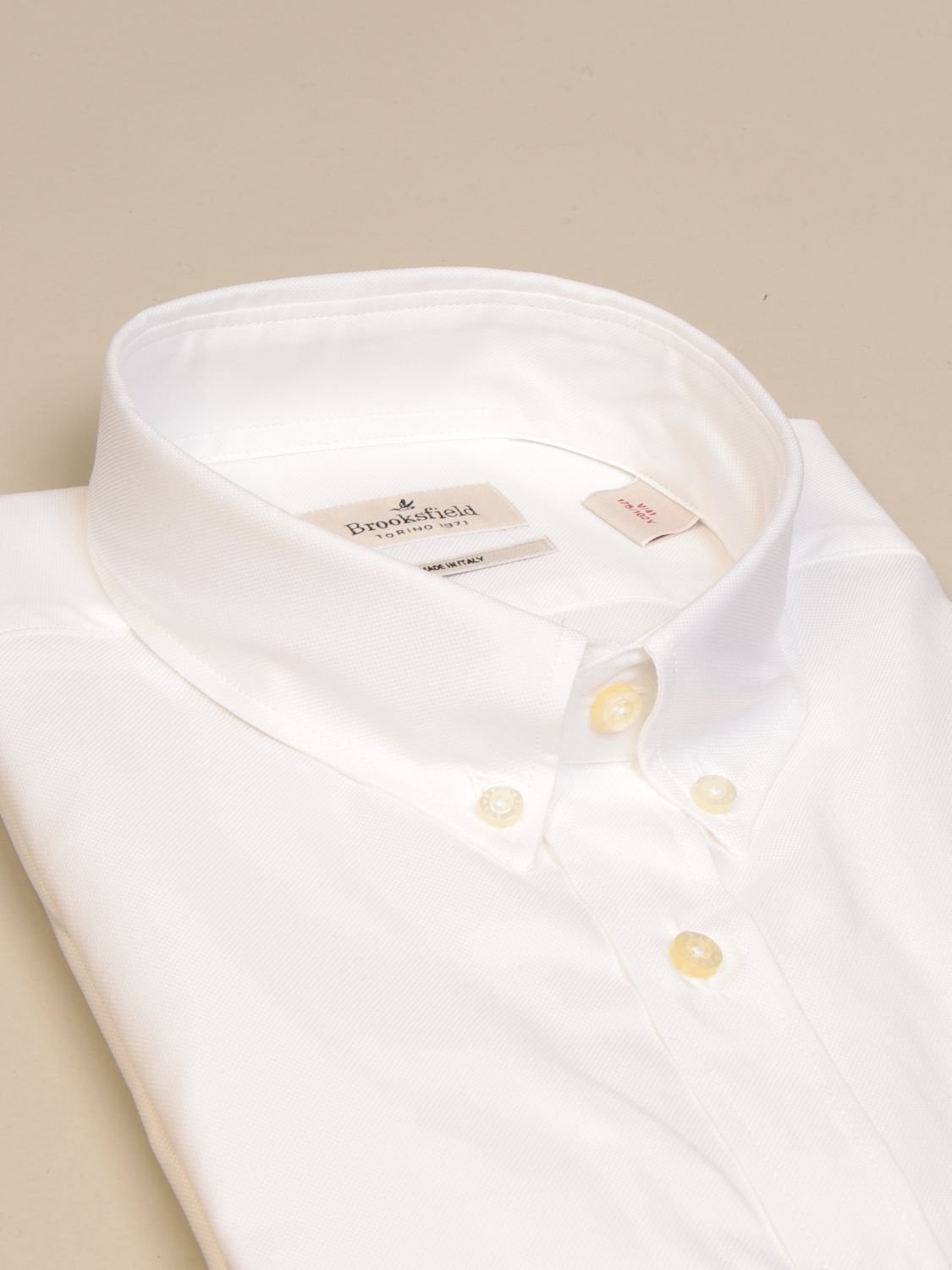 Shirt Brooksfield: Brooksfield Oxford shirt in poplin with button down collar white 2