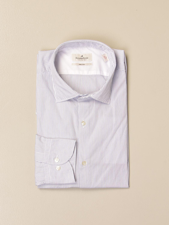 Shirt Brooksfield: Brooksfield shirt in striped poplin white 1