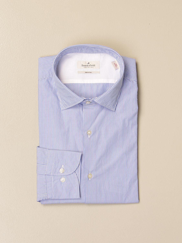 Shirt Brooksfield: Brooksfield shirt in striped poplin gnawed blue 1