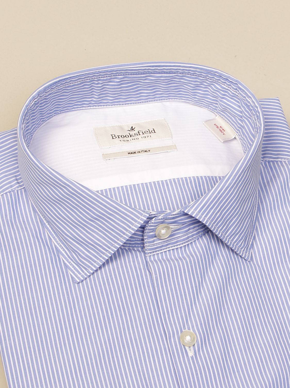 Shirt Brooksfield: Brooksfield shirt in striped poplin gnawed blue 2