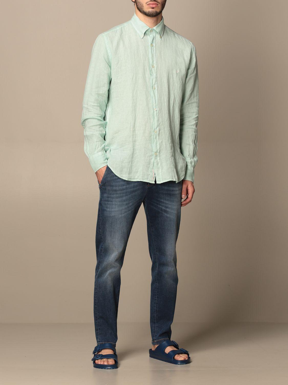 Shirt Brooksfield: Brooksfield linen shirt with button down collar water 2