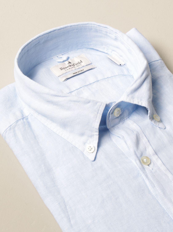 Shirt Brooksfield: Brooksfield linen shirt with button down collar sky 2