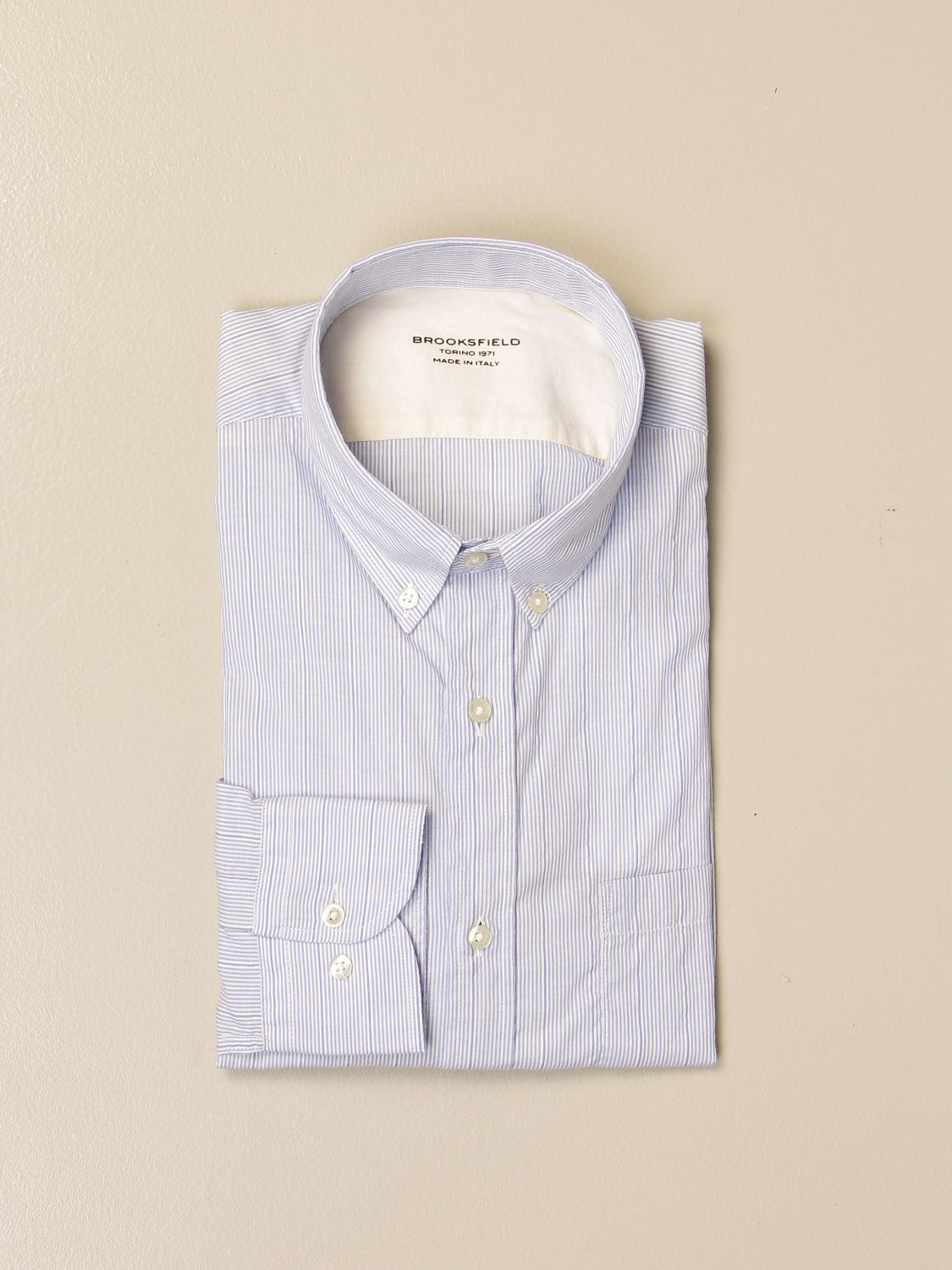 Shirt Brooksfield: Brooksfield shirt in micro-striped linen gnawed blue 1