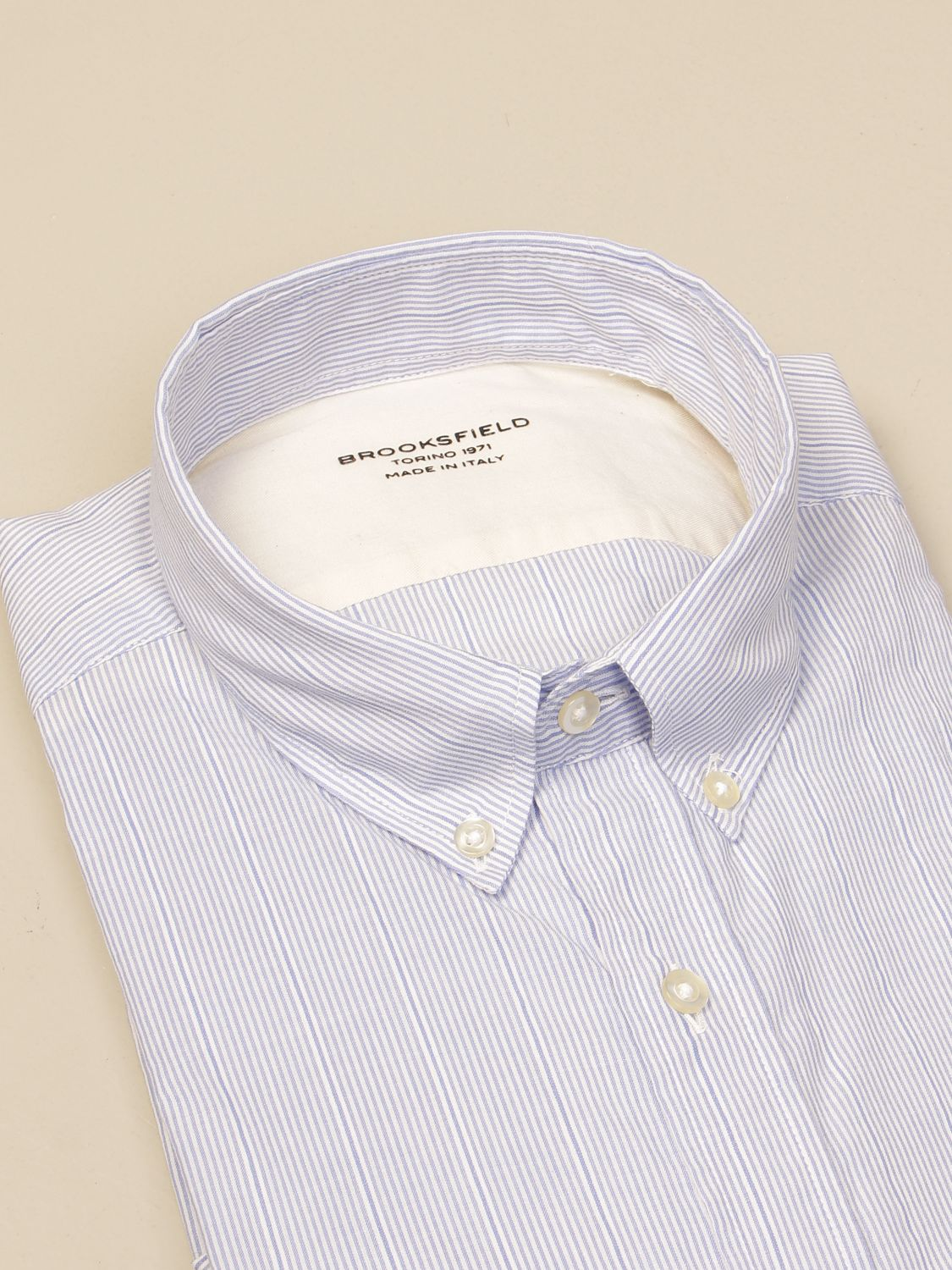 Shirt Brooksfield: Brooksfield shirt in micro-striped linen gnawed blue 2