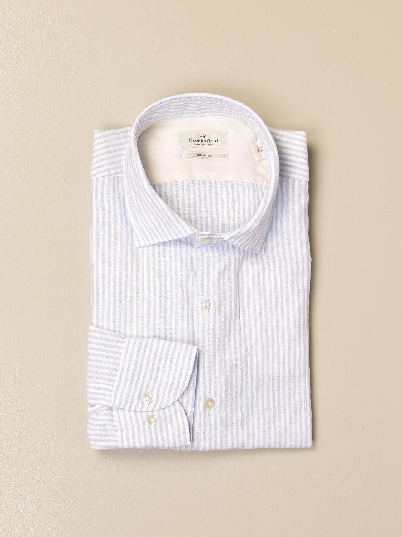 Shirt Brooksfield: Brooksfield shirt in drumstick linen sky blue 1