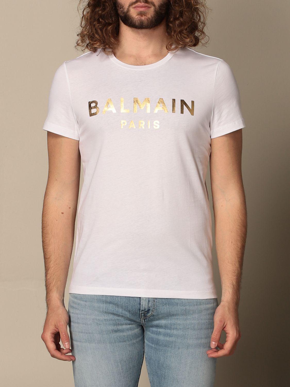 T-shirt Balmain: T-shirt Balmain in cotone con logo laminato bianco 1