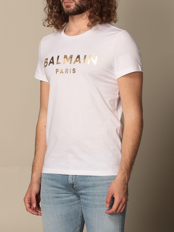 T-shirt Balmain: T-shirt Balmain in cotone con logo laminato bianco 3
