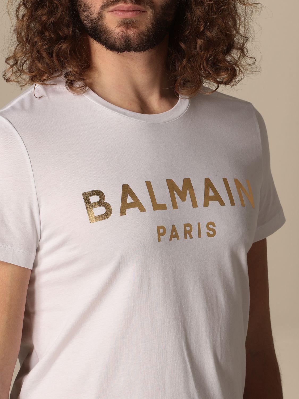 T-shirt Balmain: T-shirt Balmain in cotone con logo laminato bianco 4