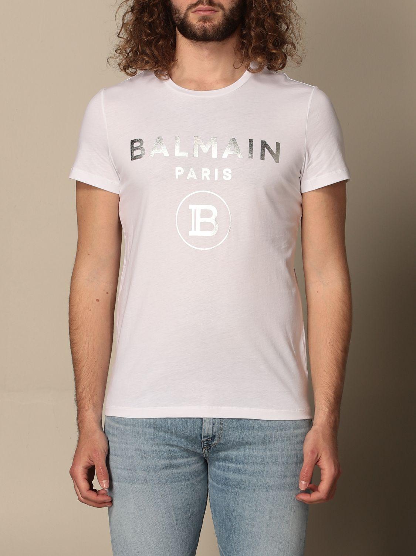 T-shirt Balmain: Balmain cotton T-shirt with laminated logo white 1