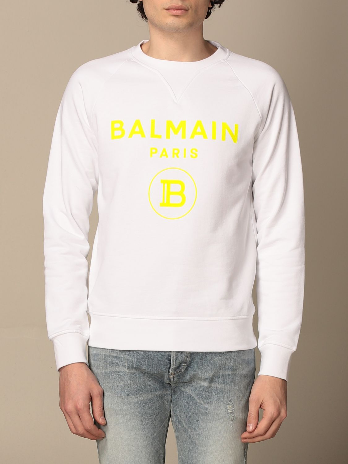 Sweatshirt Balmain: Balmain crewneck sweatshirt in cotton with fluo logo white 1