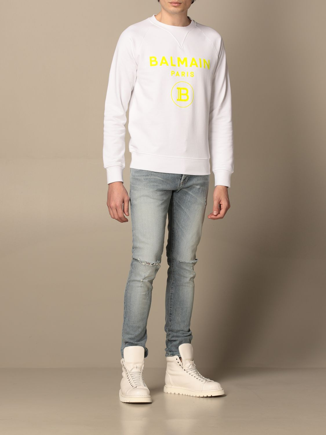 Sweatshirt Balmain: Balmain crewneck sweatshirt in cotton with fluo logo white 2
