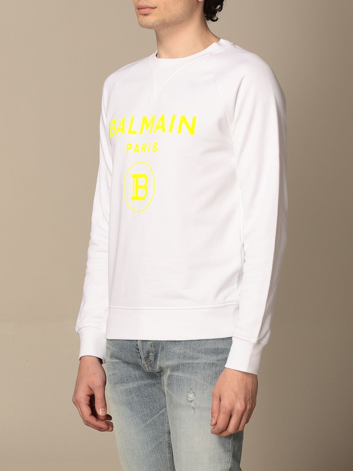 Sweatshirt Balmain: Balmain crewneck sweatshirt in cotton with fluo logo white 4