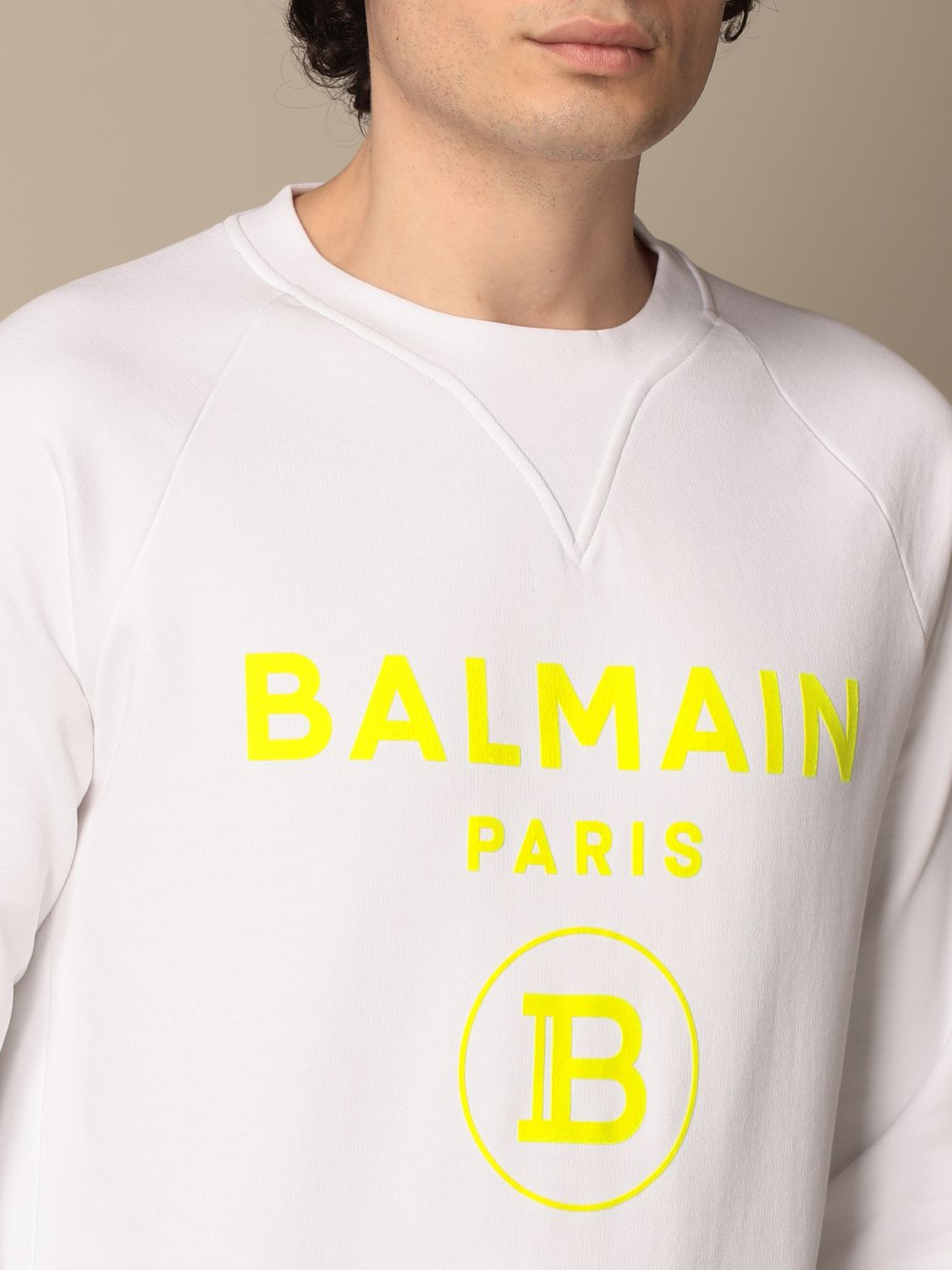 Sweatshirt Balmain: Balmain crewneck sweatshirt in cotton with fluo logo white 5