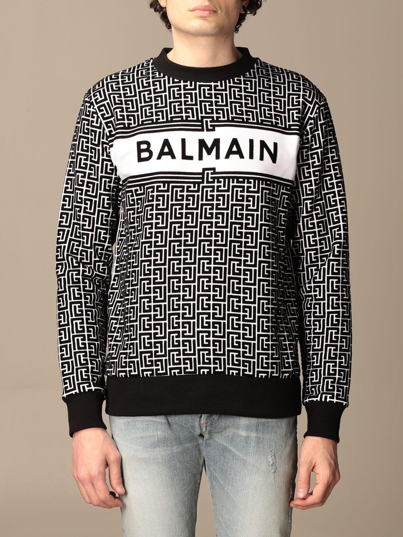 Sweatshirt Balmain: Balmain crewneck sweater in with all-over monogram black 1