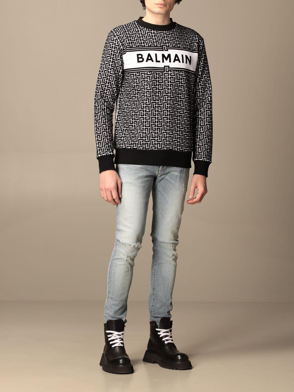 Sweatshirt Balmain: Balmain crewneck sweater in with all-over monogram black 2