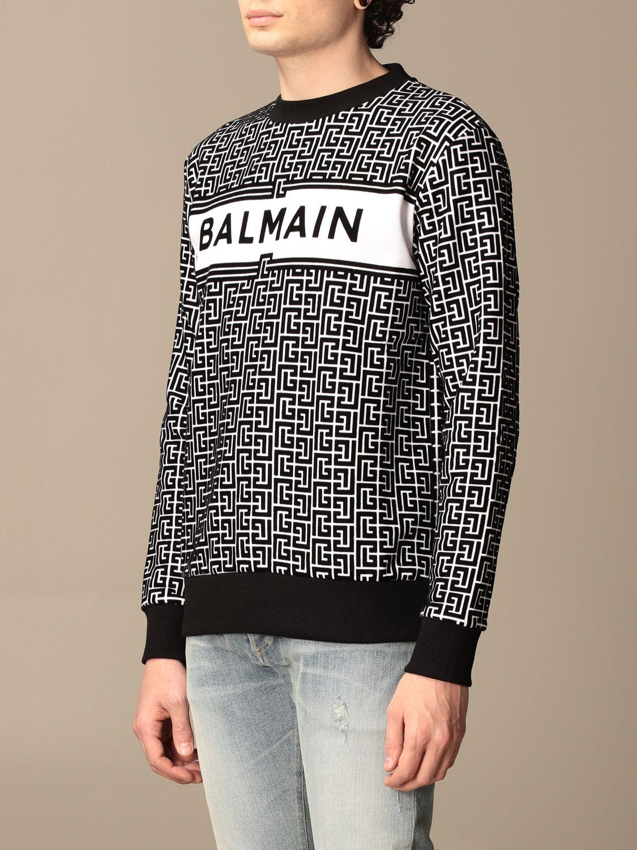 Sweatshirt Balmain: Balmain crewneck sweater in with all-over monogram black 4