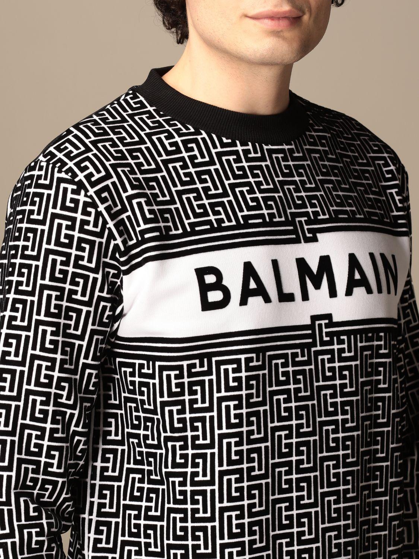 Sweatshirt Balmain: Balmain crewneck sweater in with all-over monogram black 5