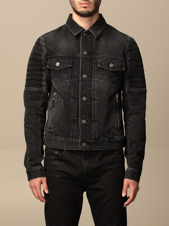 Jacket Balmain: Balmain denim jacket with tears black 1