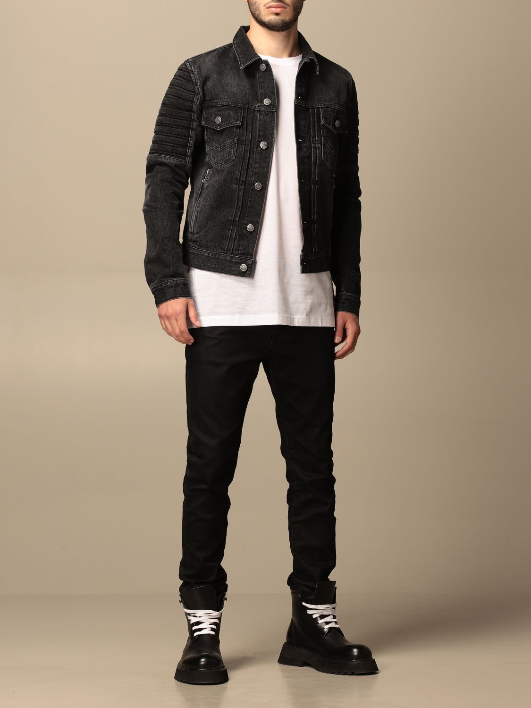 Jacket Balmain: Balmain denim jacket with tears black 2
