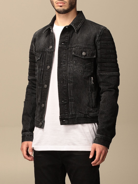 Jacket Balmain: Balmain denim jacket with tears black 4