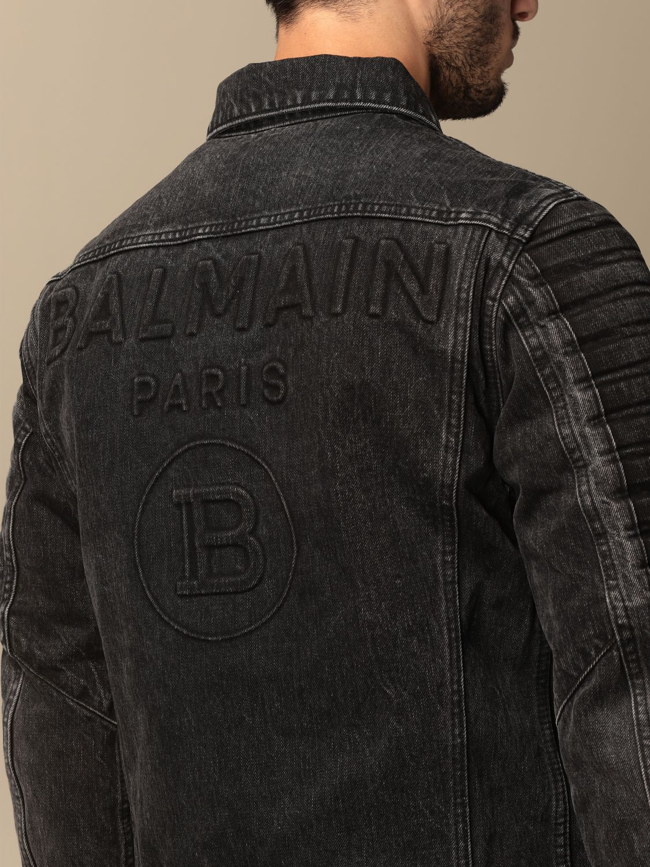 Jacket Balmain: Balmain denim jacket with tears black 5