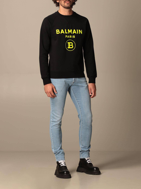 Jeans Balmain: Jeans Balmain in denim used con logo denim 2