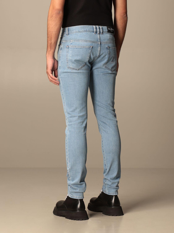 Jeans Balmain: Jeans Balmain in denim used con logo denim 3