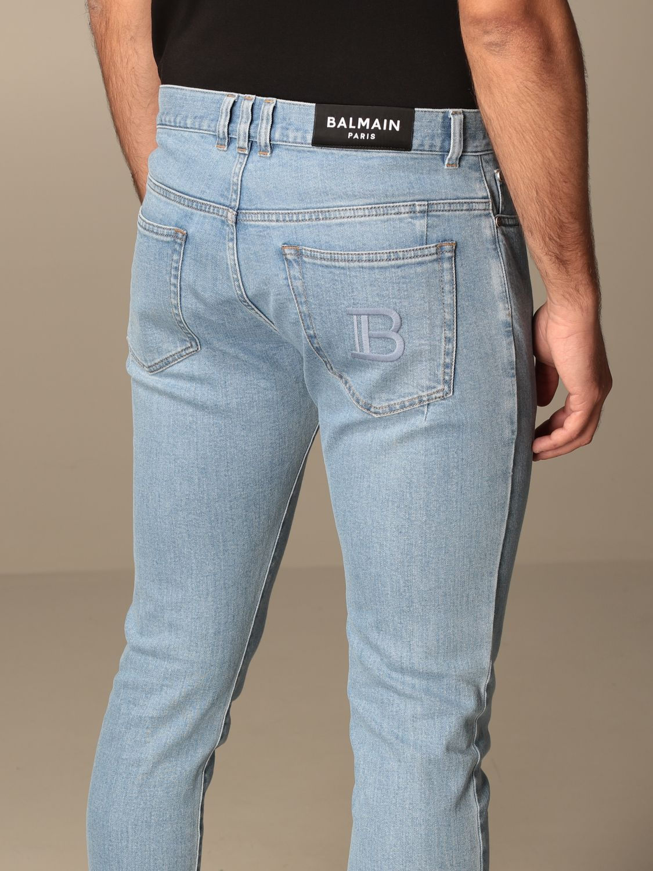 Jeans Balmain: Jeans Balmain in denim used con logo denim 5