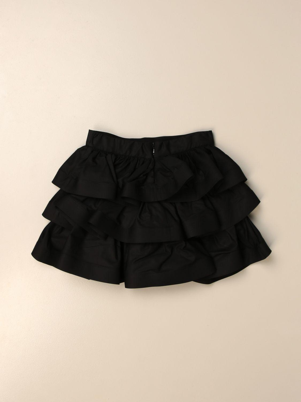Gonna Elisabetta Franchi: Gonna mini Elisabetta Franchi in cotone a balze nero 2
