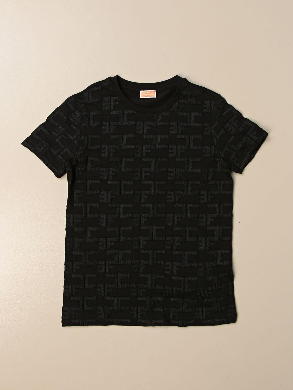 T-shirt Elisabetta Franchi: T-shirt Elisabetta Franchi con logo all over nero 1