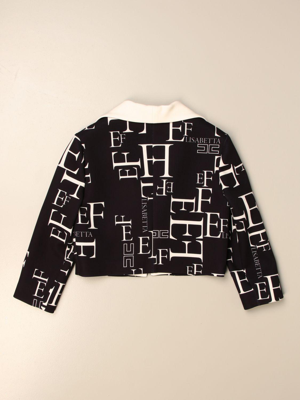 Blazer Elisabetta Franchi: Giacca cropped Elisabetta Franchi con logo all over nero 2