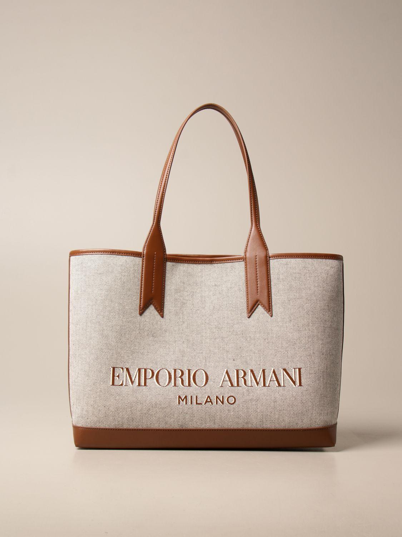 Shoulder bag Emporio Armani: Medium Emporio Armani shopping bag in canvas with logo natural 1
