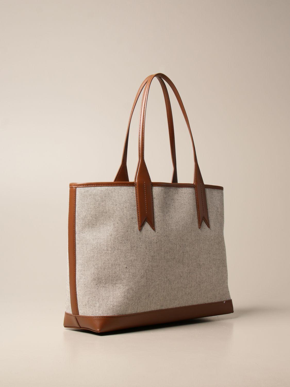 Shoulder bag Emporio Armani: Medium Emporio Armani shopping bag in canvas with logo natural 2