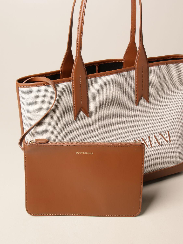 Shoulder bag Emporio Armani: Medium Emporio Armani shopping bag in canvas with logo natural 3