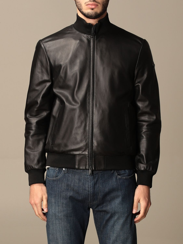 Jacket Emporio Armani: Emporio Armani leather bomber jacket black 1