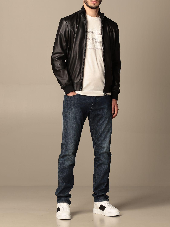 Jacket Emporio Armani: Emporio Armani leather bomber jacket black 2